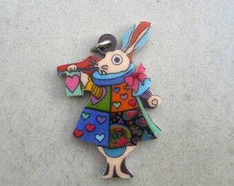Enchanting rabbit pendant acrylic alice printed on front & back
