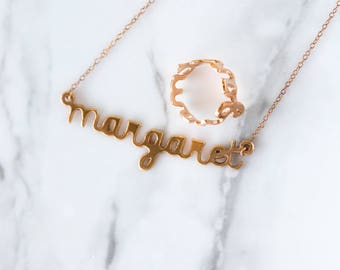 Rose Gold Name Necklace, Custom Name Jewelry, Baby Gift Personalized Name Jewelry, New Mom Children Dainty Necklace, Bridesmaids, Margaret