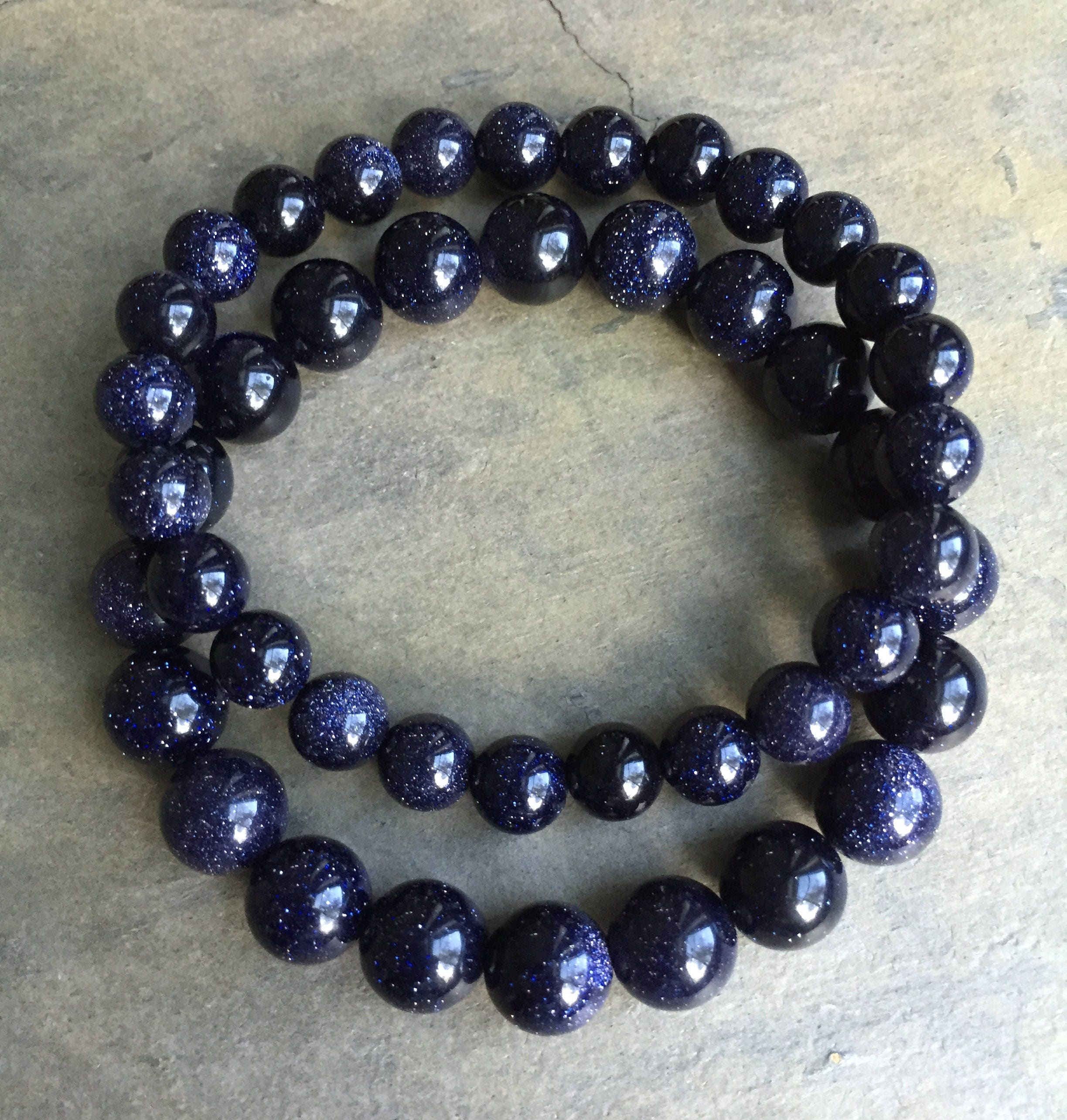 elastic goldstone artcrystal blue bracelet beaded product