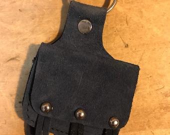 1980's Vintage Suede Biker Saddle Bags Keychain