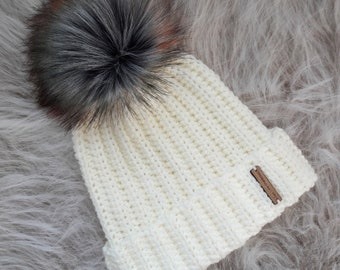 Hand Crocheted Hat with Faux Fur Pom Pom. Adult Size