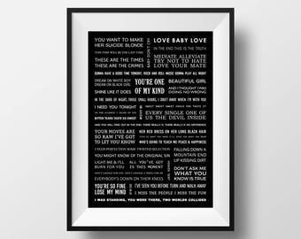 A4 INXS song lyrics poster