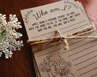 Who Am I Game Bridal Shower Printable Memories Of The