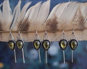 Wildflower Earrings - Geometric Earrings - Peridot Earrings