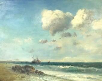 Ocean Side, Seascape Original oil Painting, Museum Quality, Handmade artwork, Oil on Linen, Signed