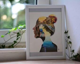 Venice girl, art print