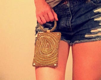 Vintage Gold Beaded Wristlet Purse With Gold And Rhinestone Detailing