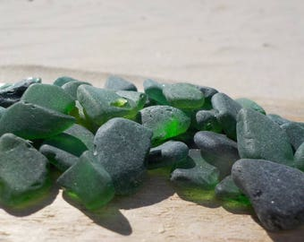"150 pcs Green shades Genuine Sea glass Bulk-Teal, Emerald, forest green-TINY-0.2-0.6""-Craft quality-For Jewelry Art-Home Decor#65B#"