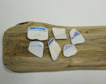 6 Pretty Sea Pottery Patterned Pendants - Beach Pottery Shards - Beach finds #33