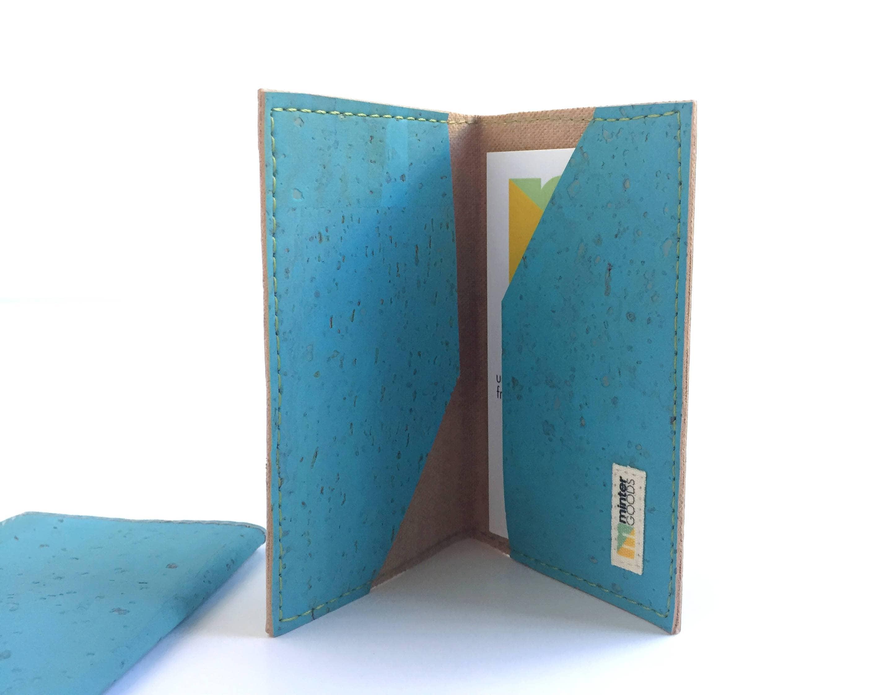Cork business card case, sky blue cork fabric. Card case. Card ...