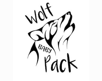 Wolf Pack Baby, Wolf svg, new baby svg, silhouette cut file, cricut cut file, digital cut file, svg jpg pdf, silhouette cameo file, t-shirt