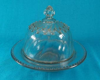 Vintage Glass Dome Covered Butter or Cheese Ball Dish