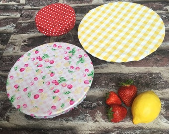 Fabric food covers/ picnic food bowl covers/ bbq fabric covers/ eco friendly food storage/ bug protector covers/ reusable pretty bowl cover