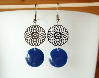 earrings with blue sequin Silver Rosette and night