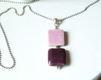 Necklace pink and purple plum square ceramic beads