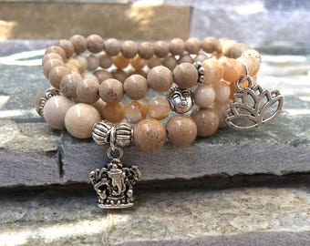 Buddha Ganesha Lotus set quartz mother of Pearl jade mala/bracelet