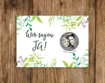 """25 Save the date scratch cards """"green wedding"""""""