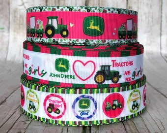 "7/8"" John Deere Tractor Farm Animal Pink Green Girls Baby Grosgrain Ribbon - Sold by 5, 10  Yards"