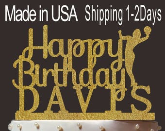 Personalized Happy Birthday Cake Topper, Custom Volleyball Cake Topper, Cardstock Cake Topper, Create Your Own! Custom Name, Any Name, PT005