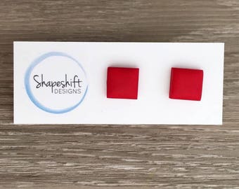 Handmade Polymer Clay Stud Earrings / Square / Red