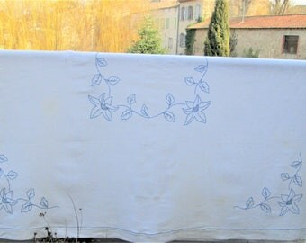 Vintage French Tablecloth, table covers, antique french, cotton tablecloths, blue and white fabrics, dining items, country french decor