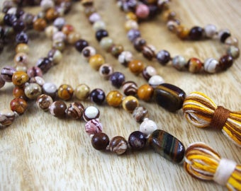 Mookaite Knotted Mala Beads // 8mm // Tassel Mala Necklace // Hand Knotted 108 Bead Mala // Prayer Beads // Yoga Jewelry Gift