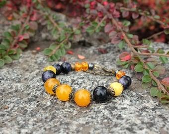 Yellow jasper heart charm bracelet Dark blue goldstone bracelet Yellow cat eye bracelet Discernment bracelet Solar plexus chakra bracelet