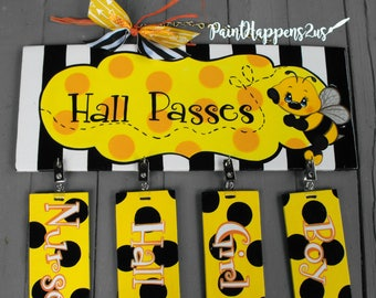 Student Hall Passes for Classroom Teachers - Reusable matching passes -Hall Pass Bee themed Classroom - Polka dots yellow and black