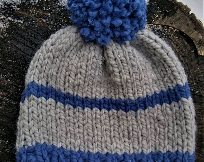 Chunky Two Toned Knit Childs Pom Pom Hat (CHOOSE YOUR COLORS)