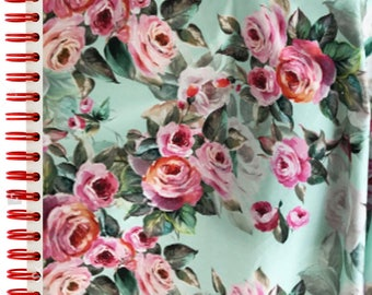 Luxury Artistic Watercolour Cabbage Rose Floral/Flower Comfort Stretch  Woven Cotton  Dressmaking Fabric
