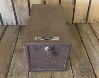 Vintage Small Metal Safe with Key