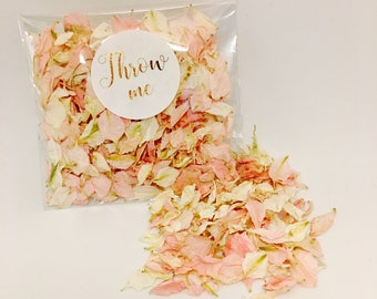Flower petal confetti - pale pink with off white petals - biodegradable - metallic gold calligraphy 'throw me' label - vintage weddings