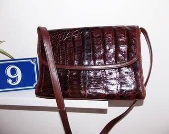 Croco leather bag french vintage designer Pourchet