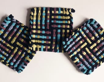 "Set of 3: Bright color, woven pot holders, hot pads - ""Woodland Eve"""