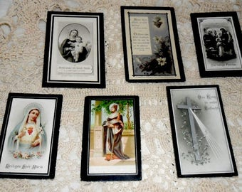 SUNDAY SALE***6 Antique German Funeral Cards~German Death Cards~Prayers Cards~Victorian Funeral Art~