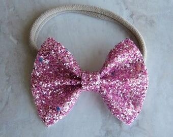 Strawberry short cake pink glitter bow