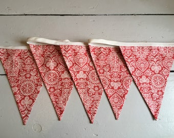 Nordic style red and white Christmas Bunting. Great Christmas gift, hanging garland, festive decoration, xmas red hearts flags