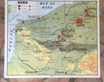 French vintage school poster map FRANCE NORTH EAST two sided rossignol 0302187