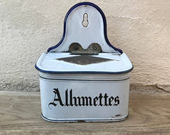 Antique enamel match / allumettes box french white blue 19021896