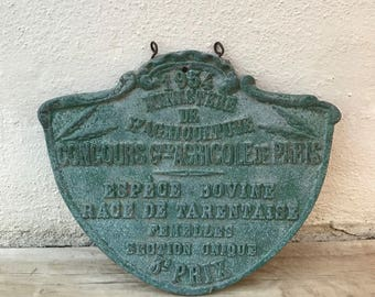 FRENCH VINTAGE AGRICULTURE plaque trophy award animals prize sign 1954 19021810