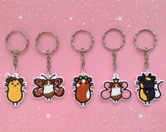 5 Cute Guinea Pig Keyring Designs - Ladybugpigs Collection, Laser Cut on White Acrylic, Animal Cavy Bag Charm, Keychain Gifts for Pet Lover