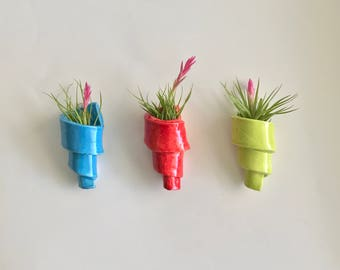 Set of 3 Handmade Spiral Hanging Air Plant Holders in Blue, Lime and Red