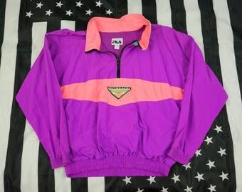 Vintage 80s 90s Fila Pro Beach 1/3 Zip Pullover Windbreaker Size XL Colorblocking Pastels Baggy
