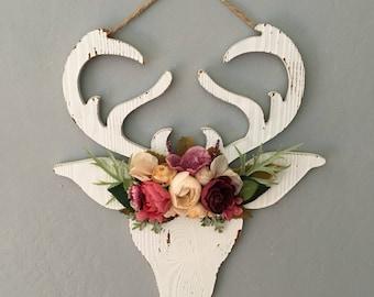 Floral Faux Antlers, Antler Flowers, Floral Antlers, Rustic Nursery Decor, Deer Silhouette, Floral Faux Deer, Faux Taxidermy, Antler Sign