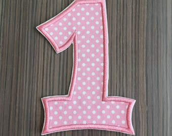 Number 1 Pink Polka Dot Iron on Applique Patch