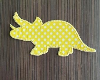 Yellow Dinosaur Iron on Applique Patch