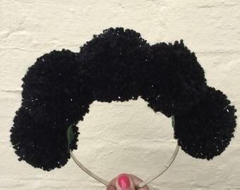 Pom Pom Headband, Black Pom Pom, Black & Silver, Goth Headband, Sparkle Headband, Black Headband, Pastel Goth,  Sparkle Pom Poms, Cosplay