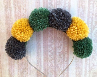 Pom Pom Headband, Autumn Headband, Fall Hair Accessory, Autumn Colours, Green Pom Poms, Pom Pom Crown, Yellow and Green, Autumn Accessory