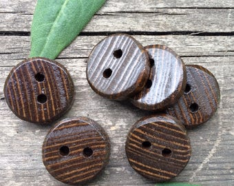 Upcycled Broom Handle Buttons // Set of 6 // Stained Dark Walnut // Broomstick Buttons