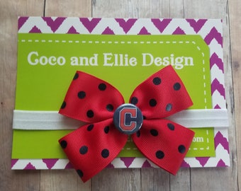 cleveland indians bow headband-cleveland indians bow-indians headband-cleveland indians baby shower gift/baby indians/newborn indians